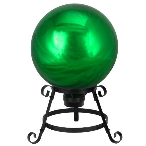 """10"""" Emerald Green Shiny Outdoor Garden Gazing Ball - IMAGE 1"""