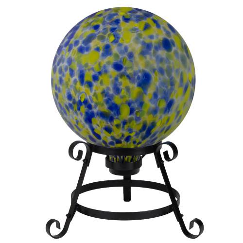 "10"" Yellow and Blue Outdoor Patio Garden Gazing Ball - IMAGE 1"