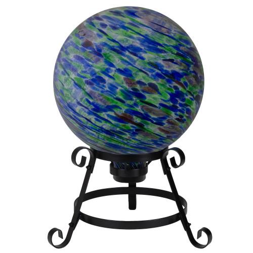 "10"" Green and Blue Swirl Designed Outdoor Garden Gazing Ball - IMAGE 1"