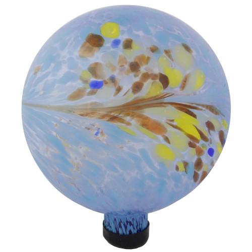 "10"" Blue and Red Swirl Design Outdoor Garden Gazing Ball - IMAGE 1"