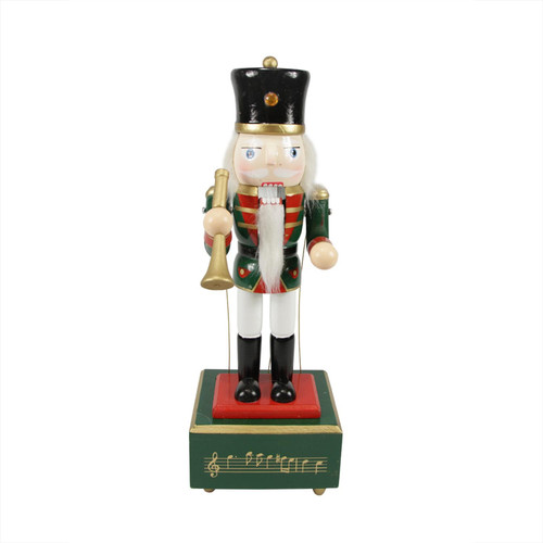 """12"""" Red Animated and Musical Christmas Nutcracker with Trumpet - IMAGE 1"""