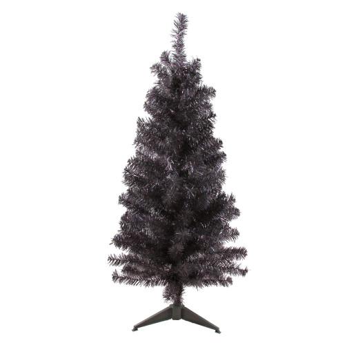4' Slim Iridescent Brown Artificial Tinsel Christmas Tree - Unlit - IMAGE 1