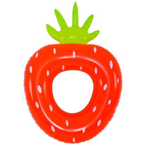 Inflatable Red and Green Strawberry Children Pool Ring Float, 30-Inch - IMAGE 1