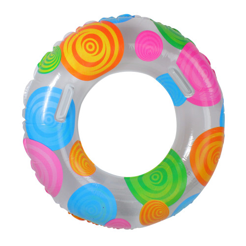 Inflatable Clear and Orange Swimming Pool Inner Tube Ring Float, 35-inch - IMAGE 1