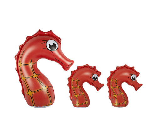 Set of 3 Inflatable Orange and Black Seahorse Family Pool Floats, 36-Inch - IMAGE 1