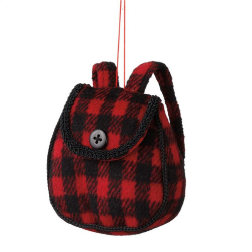 """3.75"""" Red and Black Plush Plaid Backpack Christmas Ornament - IMAGE 1"""