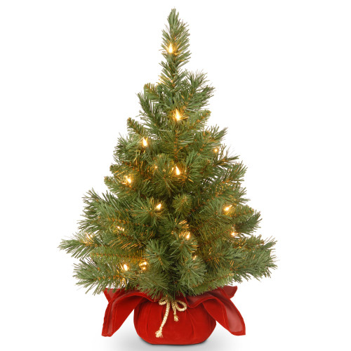 2' Pre-lit Potted Majestic Fir Tree Artificial Christmas Tree in Burgundy Cloth Bag – Clear Lights - IMAGE 1