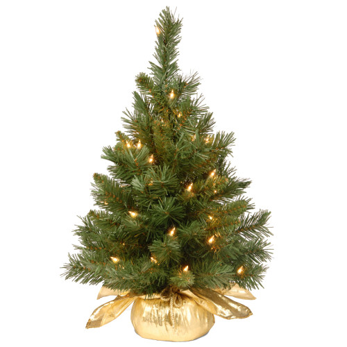 2' Pre-lit Potted Majestic Fir Tree Artificial Christmas Tree in Gold Cloth Bag – Clear Lights - IMAGE 1