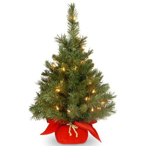 2' Pre-lit Potted Majestic Fir Tree Artificial Christmas Tree in Red Cloth Bag – Clear Lights - IMAGE 1