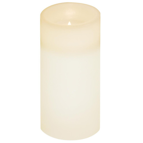 """6"""" Off White Battery Operated Flameless Flickering Wax Pillar Candle - IMAGE 1"""
