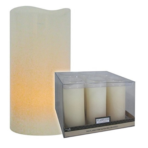 "Pack of 6 Ivory White Curved Edge Battery Operated Flickering Flameless Wax Candles 4"" - IMAGE 1"
