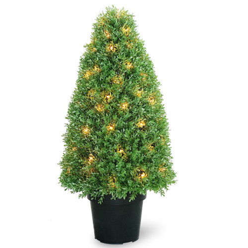 """3' x 17"""" Green and Black Pre-Lit Potted Artificial Boxwood Tree - Clear Lights - IMAGE 1"""