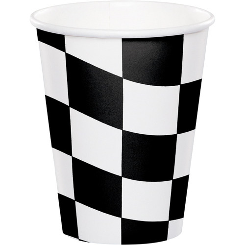 Club Pack of 96 Black and White Checkered Disposable Plastic Drinking Party Tumbler Cups 9 oz. - IMAGE 1