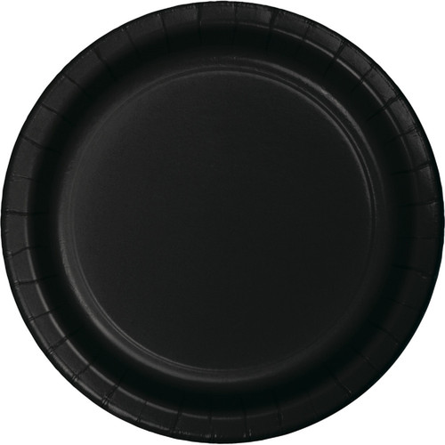 """Club Pack of 96 Jet Black Lunch In Disposable Decorative Plastic Party Plates 7"""" - IMAGE 1"""