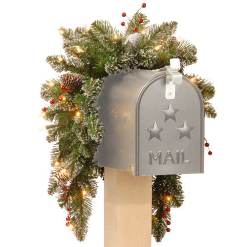 3' Glittery Mountain Spruce Mailbox Swag with White Edged Cones, Red Berries and 35 Warm White Battery Operated LEDs - IMAGE 1