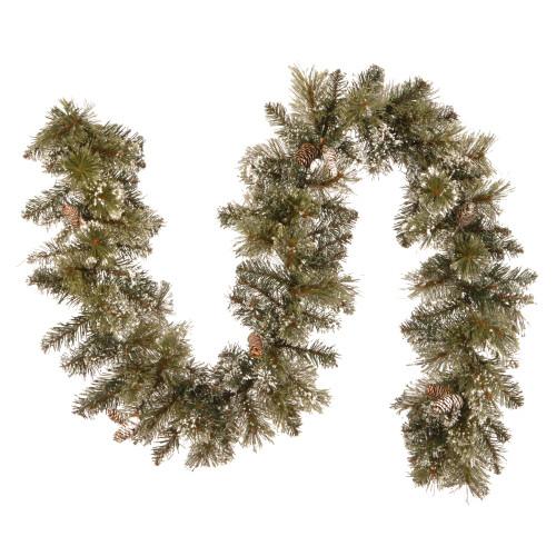 "6' x 10"" Glittery Bristle Pine Artificial Christmas Garland - Unlit - IMAGE 1"