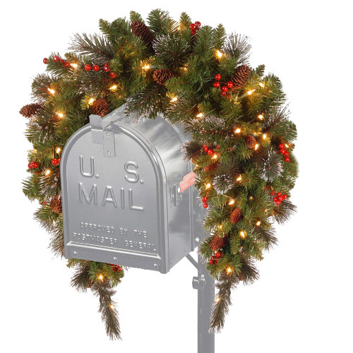 """36"""" Crestwood Spruce Mailbox Cover with Silver Bristle - Warm White LED Lights Battery Operated - IMAGE 1"""