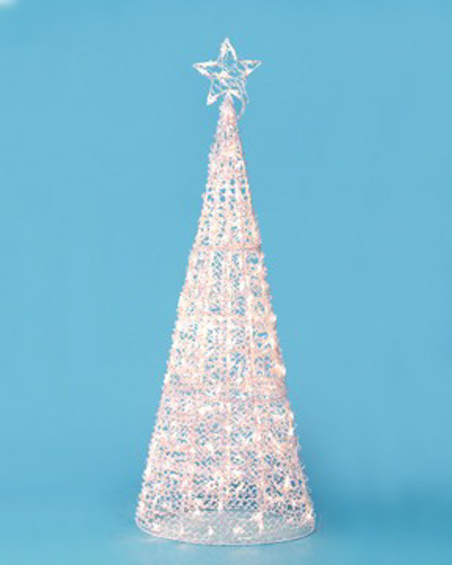 "60"" Winter Frost Pre-Lit LED Gold Twinkling 3-D Sculpture Christmas Tree Yard Art - IMAGE 1"