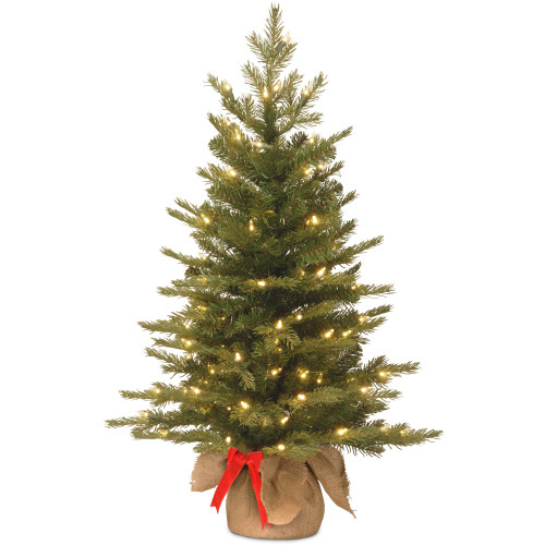 3' Pre-lit Potted Nordic Spruce Artificial Christmas Tree – Warm White LED Lights/BO - IMAGE 1