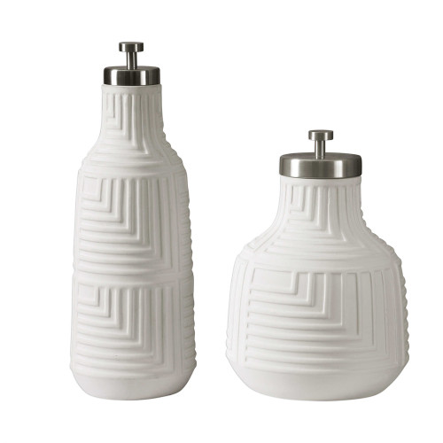 """Set of 2 Chandran Matte White Containers 17"""" - IMAGE 1"""