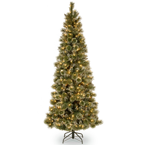 6.5' Pre-Lit Glittery Bristle Artificial Christmas Tree – Warm White LED Lights - IMAGE 1