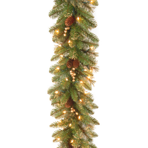9 Pre Lit Berries And Pine Cones Artificial Christmas Garland Clear Lights 33368124