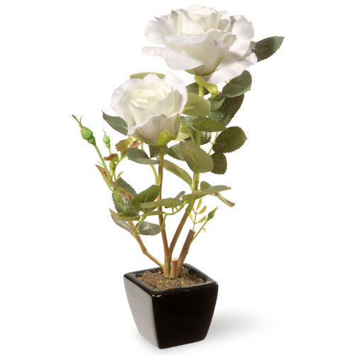 "12.5"" Black Potted Artificial White Rose Flowers - IMAGE 1"