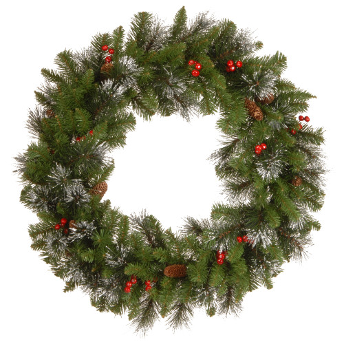 Unlit Silver Bristle, Cones, Red Berries and Glitter Artificial Christmas Wreath - 30-Inch - IMAGE 1