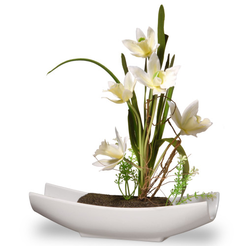 """11"""" Potted White Orchid Flowers - IMAGE 1"""