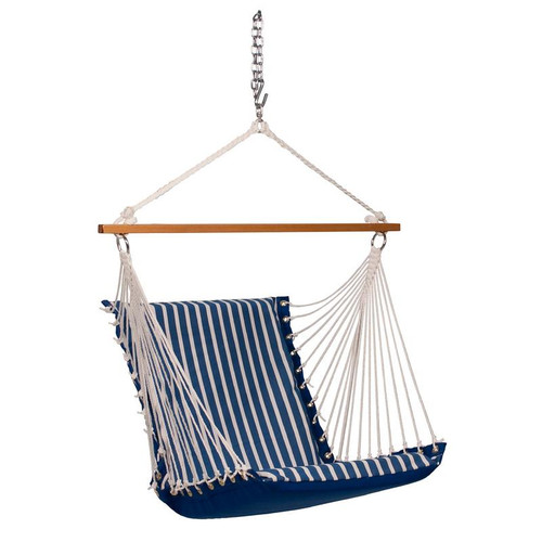 """26"""" x 48"""" Blue and White Regatta Striped Cushion Hanging Chair with S-Hook - IMAGE 1"""
