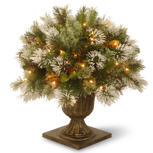 """24"""" Pre-lit Potted Wintry Pine Porch Bush Artificial Christmas Tree – Clear Lights - IMAGE 1"""