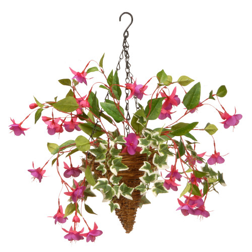 Fuchsia and Ivy Cone Wall Basket – 15 Inch - IMAGE 1