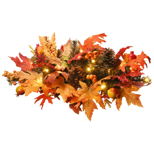 """24"""" Pre-lit Maple Berries and Cones Artificial Christmas Swag – Warm White LED Lights - IMAGE 1"""