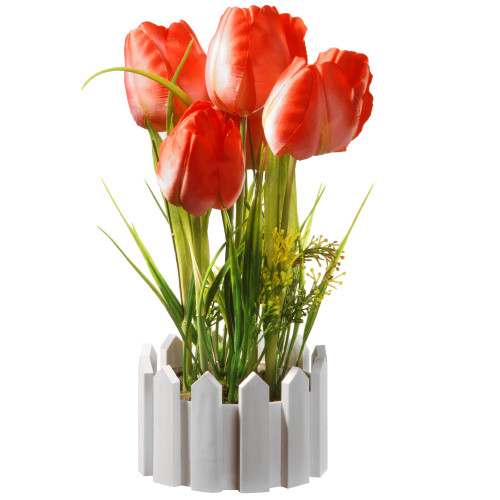 "11"" Artificial Red Tulip Flower Arrangement in Picket Fence Pot - IMAGE 1"
