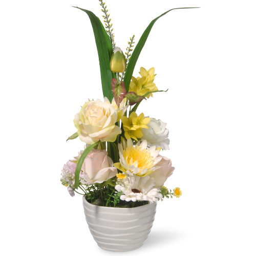 """17"""" Potted Daisy & Rose Flowers - IMAGE 1"""