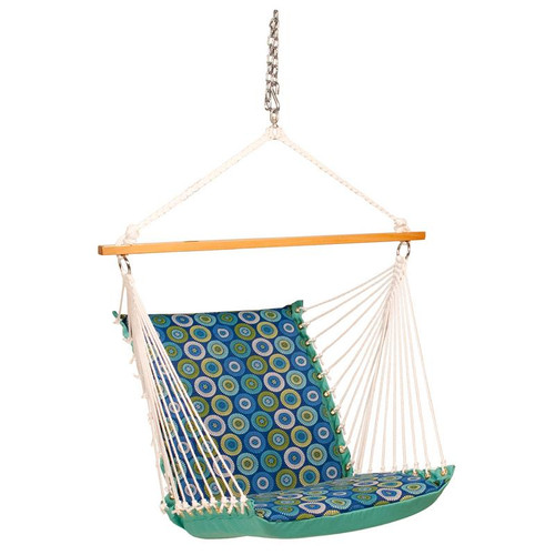 """26"""" x 48"""" Lagoon Blue and Green Geometric Patterned Cushion Hanging Chair - IMAGE 1"""