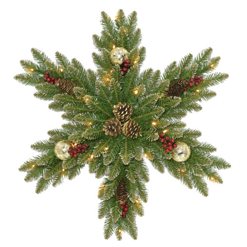 """32"""" Glittery Gold Dunhill Fir Snowflake with Battery Operated LED Lights - IMAGE 1"""