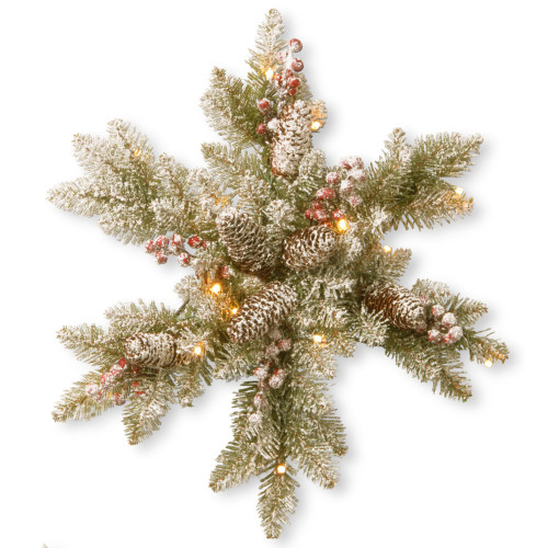 """18"""" B/O Snowy Dunhill Fir Artificial Christmas Snowflake with Warm White LED Lights - IMAGE 1"""