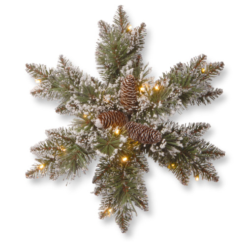 """18"""" Pre-Lit Pine Snowflake Battery Operated Artificial Wreath - Warm White LED Lights - IMAGE 1"""