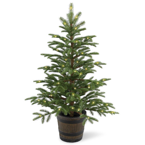 4' Pre-lit Potted Norwegian Spruce Entrance Artificial Christmas Tree – Clear Lights - IMAGE 1