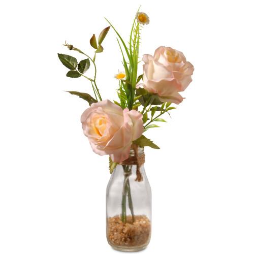 "13"" Artificial Peach Rose Flower Arrangement in Glass Vase - IMAGE 1"