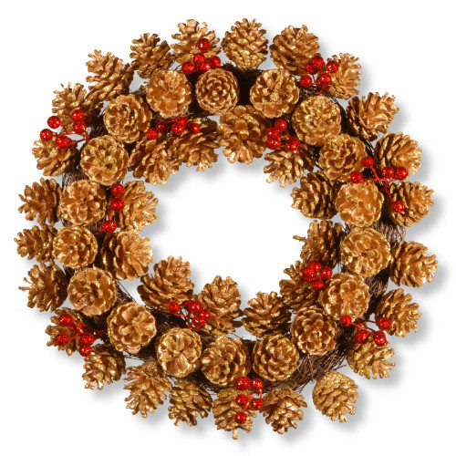 Glittered Pinecone Artificial Wreath - 20-Inch, Unlit - IMAGE 1