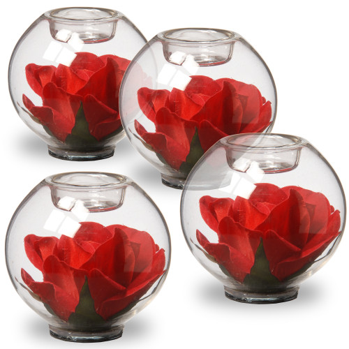 """4"""" Rose Filled Glass Candle holders - Set of Four - IMAGE 1"""