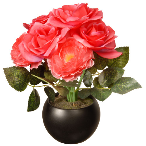 """9"""" Potted Pink Rose Flowers - IMAGE 1"""