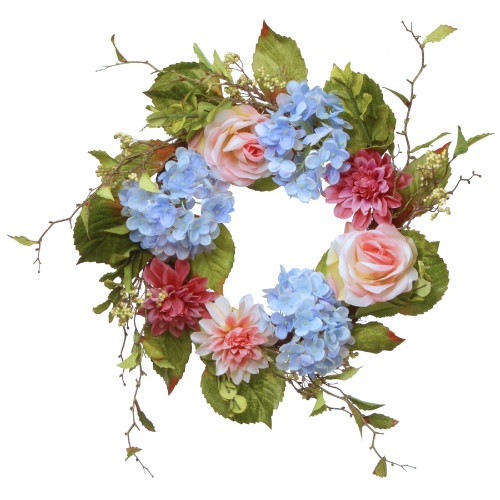 Hydrangea and Rose Artificial Floral Wreath, Blue 23-Inch - IMAGE 1
