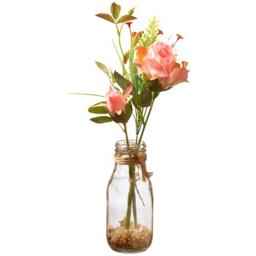 """12"""" Artificial Pink Rose Flower Arrangement in Glass Vase - IMAGE 1"""