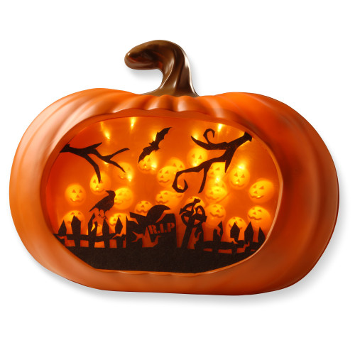 Lighted Pumpkin Wall Piece/LED Lights With BO - IMAGE 1