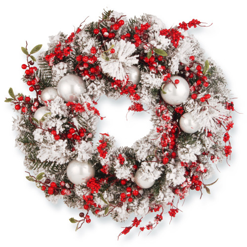 Red and White Ornaments Artificial Wreath - 24-Inch, Unlit - IMAGE 1