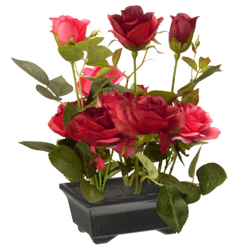 "10"" Black Potted Artificial Red Rose Flowers - IMAGE 1"