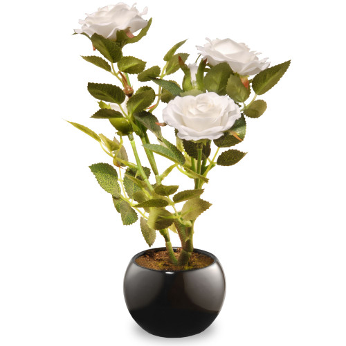 "9.5"" Black Potted Artificial White Rose Flowers - IMAGE 1"